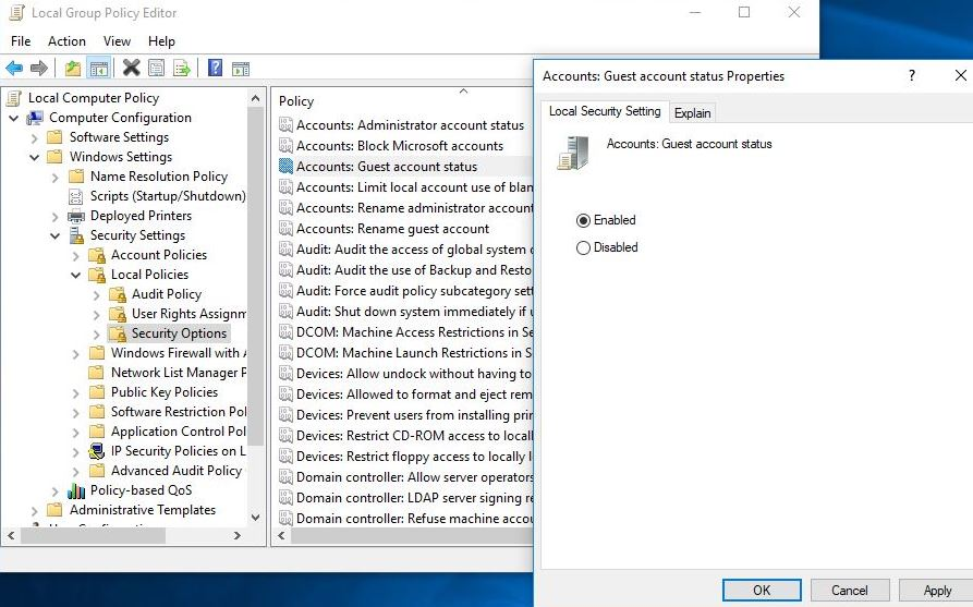 enable Guest Account via group policy