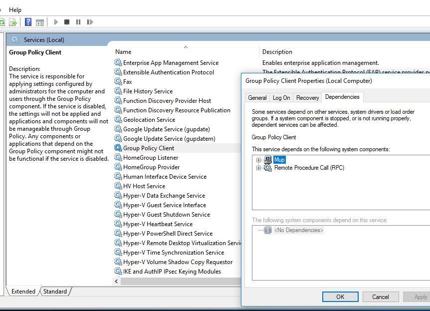 check group policy depends services are running