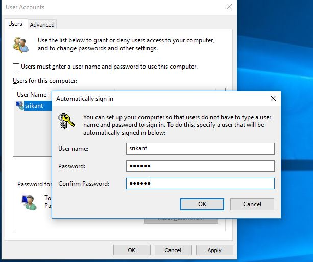 Automatic Login windows user account